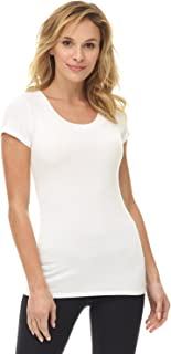 Women's Perfectly Soft Basic Fitted Short Sleeve Scoop Neck T Shirt