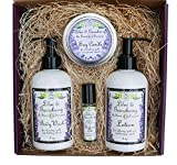 Lilac & Gooseberry Gift Set | Perfume, Lotion, Body Wash, and Soy Candle | Full Size Items in Pretty Box with Bow and Card | Yennefer Scent of a Sorceress by Bella Des Natural Beauty