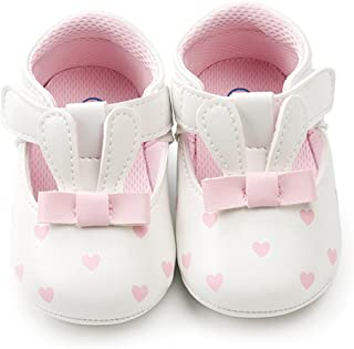 Xingopy Baby Girls Rabbit/Bunny Ears Shoes Heart Pattern Hook & Loop Sandals Fashion Toddler First Walkers Kid Shoes