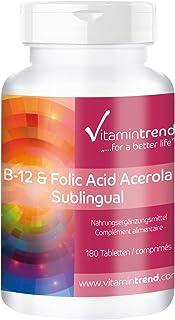 Vitamina B12 & Ácido Fólico (vitamina B9) sublingual con acerola –Bote para ¡6 MESES! – 180 comprimidos – sin estearato