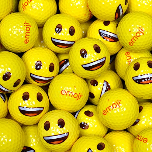 Emoji Erwachsene Golfbälle 24er Set neuartige Smiley-Gesicht, Gelb, 24, EMGBB001#1-24PK