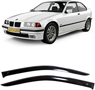 CT Wind Visor Deflectors Set of 2-Piece - Car Ventvisor Door Side -Window Air Guard Deflectors for Protection Against Snow Sun and Rain Compatible with BMW 3 Compact E36 1994-2000 - Dark Smoke