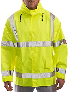 Brite Safety Style 5200 Safety Raingear- Hi Vis Rain Jacket, Waterproof & Breathable Polyester with PU Coating, Hooded, ANSI 107 Class 3 Compliant for Men & Women (XL)