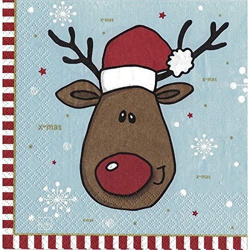 20 servetten Kerstmis rendier met muts 33x33 cm winterdecoratie