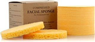 Facial Sponges - APPEARUS Compressed Natural Cellulose Face Sponge | Made in USA | Professional Spa Sponges for Face Cleansing, Massage, Pore Exfoliating, Mask, Makeup Removal (50 Count/Yellow)