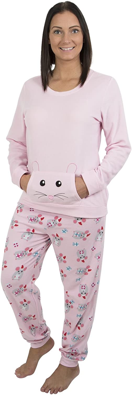 Alki'i Women's Light Weight Fleece Pajama Set with Kangaroo Pockets
