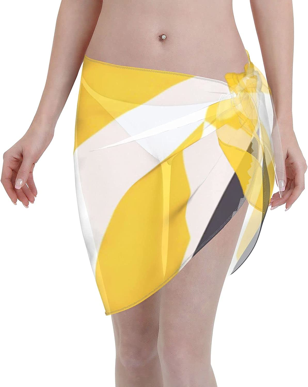 2053 pants Modern Geometric Pattern Yellow Black Women Chiffon Beach Cover ups Beach Swimsuit Wrap Skirt wrap Bathing Suits for Women