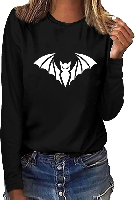 Women's Halloween Sweatshirts O-Neck Funny Printed Blouses Tees Fluorescent Green Long SleeveT-Shirt Tops