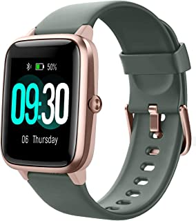 Willful Smart Watch for Android Phones and iOS Phones Compatible iPhone Samsung, IP68 Swimming Waterproof Smartwatch Fitness Tracker Fitness Watch Heart Rate Monitor Watches for Men Women (Green-Gold)