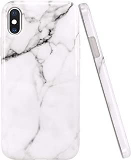 JAHOLAN iPhone X Case iPhone Xs Case White Marble Design Clear Bumper Glossy TPU Soft Rubber Silicone Cover Phone Case for iPhone X iPhone Xs