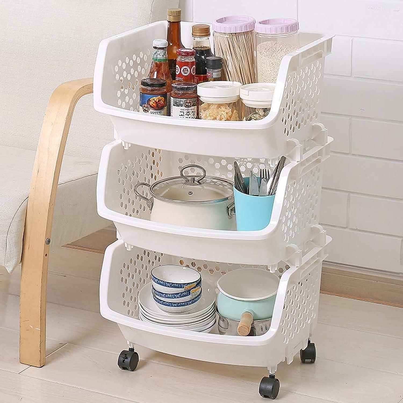 Multi Purpose Plastic Fruit Vegetable Kitchen Storage Rack Trolley Cart 3 Tier