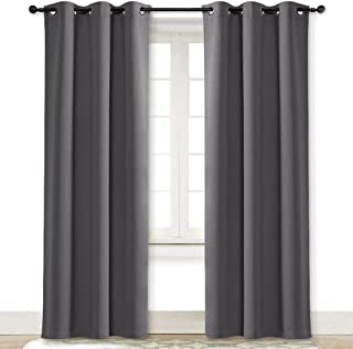 NICETOWN Gray Curtain Blackout Drape Panel 3 Pass Microfiber Noise Reducing Thermal Insulated Window Drapery with Grommet (Single Panel, 42 x 84 inch, Grey)