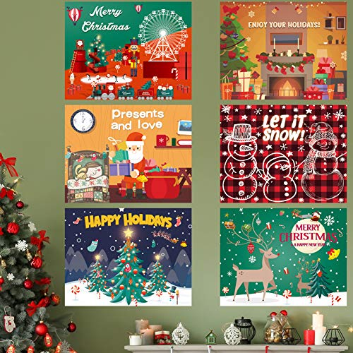 6 Pack Christmas Decoration Posters, 11×14 Inch Christmas Decoration Art for Frames, Large Christmas Printing Cards for Friends, Shop Window/Wall/Door Christmas Decorations, Christmas Party Decoration
