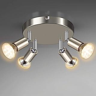 Unicozin Plafonnier 4 spots LED Orientables, Ø18cm, Avec ampoules 4 x 4W 400LM LED GU10 ampoules Blanc Chaud 2900K, Nickel...