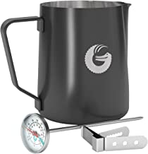 Coffee Gator Milk Frothing Pitcher - Coated Stainless Steel Milk Steamer Jug with Thermometer and Mounting Clip - Barista-Standard Latte Art - 18.5 Ounce