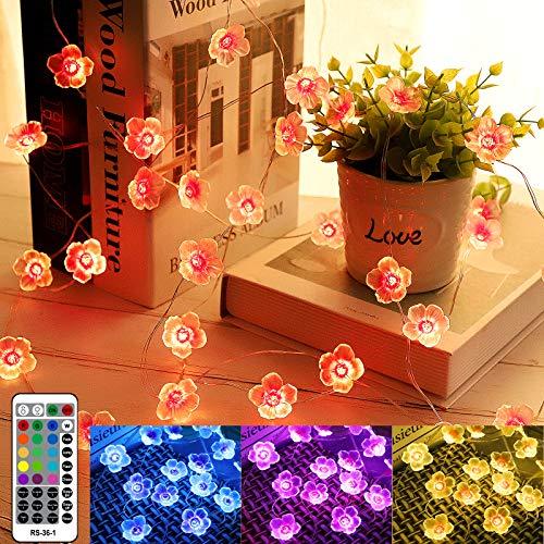LED Blume Lichterketten mit Fernbedienung, Cherry Blossom 4 Modi Bunt Lichter für kinderzimmer Hochzeit Geburtstag Innen Deko Geschenk für Mama Mother's day gift Damen Geschenke Mama Geschenkideen