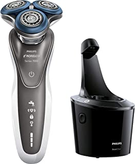 Philips Norelco - Series 7000 - Shaver 7700, Wet and Dry Men's Rechargeable Electric Shaver (Model S7720/84) With Beard Trimmer Attachment and SmartClean System - Silver / Black
