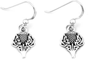 Scottish Spirit of Alba Thistle Celtic Knot Art Sterling Silver Earrings by Courtney Davis