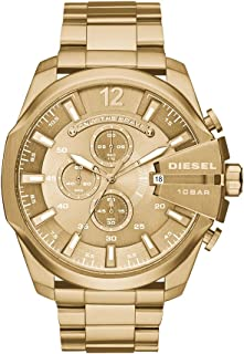 Men's Mega Chief Quartz Stainless Steel Chronograph Watch, Color: Gold-Tone (Model: DZ4360)