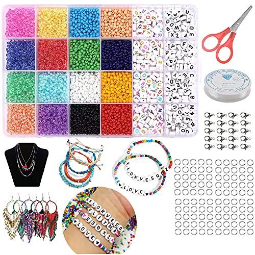 Perlen Set 6600pcs Glasperlen und 400pcs Farbe Alphabet Buchstabe Perlen - DIY Beads Zubehör Set Bastelperlen Bunte Perlen Geeignet zur Herstellung Perlen für Halsketten, Armbänder und Brillenketten