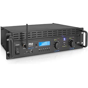 Professional Audio Bluetooth Power Amplifier - 2-Channel Rack Mount Bridgeable, LED Indicators, Shockproof Binding Posts, Cooling Fans 1000 Watt - Pyle PTA1000