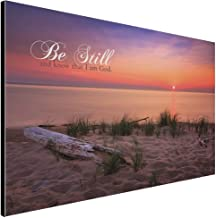 LACOFFIO Christian Large Wood Wall Art Décor - Be Still and Know That I Am God - 18 x 12 Wooden Hanging Sign with Bible Scripture Saying on Mesmerizing Sunset Lake Background