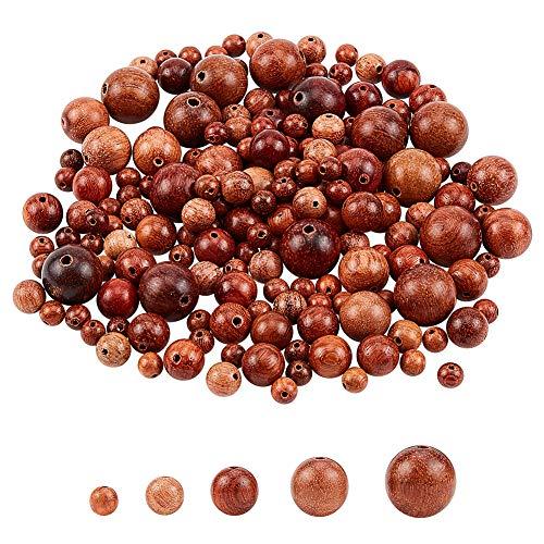 PandaHall 500 Cuentas de Madera para Suministros de joyería, 8 – 15 mm, Color marrón Oscuro para Hacer Joyas Adultos, Cuentas Redondas de Madera para Pulseras, Cuentas de Madera para Manualidades