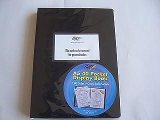 TIGER A5 Copertina flessibile Display PRESENTAZIONE LIBRO CARTELLA PORTAFOGLIO NERO 40 TASCHE