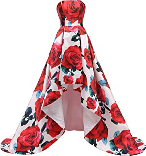 Floral Print Prom Dresses 2019 Satin Evening Gowns Women Formal with Pockets Vintage Ball Gown