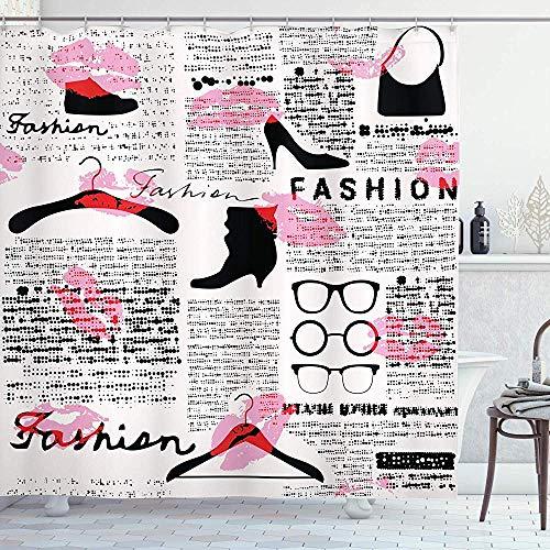 N/Een Oude Krant Decor Douche Gordijn door, Mode Elementen Kussen Lippenstift Bril Schoenen Hangers, Scarlet Baby Roze Zwart