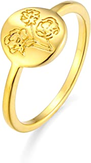 yfigo Handmade Flower Signet Ring -18K Gold Plated Ring Minimalistic Statement Ring with Botanical Engraved Delicate Perso...