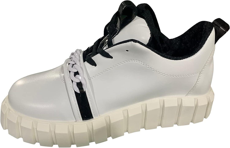 Ezeerae Platform Sneakers for Women Cake Platform Shoes Lace-Up Fashion Sneakers Pu Non-Slip Black Shoes