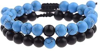 Men Women 8mm Natural Stone Beads Bracelet Distance Yoga...