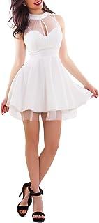 Toocool - Vestito Donna Miniabito Corto Gonna Ruota Scollo Americana Velato Nuovo CJ-2514