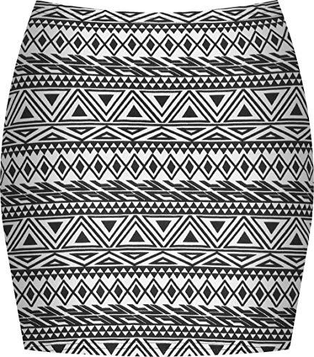 Espania Trading Damen Minirock, Stretch, figurbetont, elastisch, Jersey, kurz, Gr. 36-40 Gr. 36, Kleine Aztekenmuster