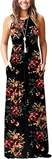 TAK KWONG HERBS Women Sleeveless Long Dress O-Neck Shirring Waist Loose Floral Print Maxi Dress