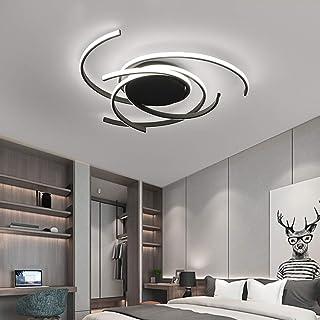 Lámpara de techo LED, 72 W, lámpara de techo en espiral para salón, edificios, comedor, mando a distancia regulable, regulable (negro)