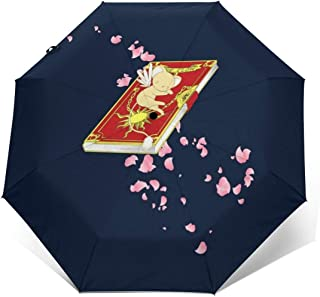 Carcaptor Sakura Kero Chan Cerberus Clow Book Windproof Compact Auto Open And Close Folding Umbrella,Automatic Foldable Travel Parasol Umbrella