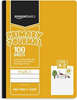 """Amazon Basics primary journal 1/2"""" ruled & blank space, 100-sheet, 9.75"""" x 7.5"""", assorted solid colors, 3-pack"""