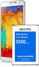 Galaxy Note 3 Battery, Wavypo 3500mAh Replacement Battery for Samsung Galaxy Note 3 [ N9000, N9005, N900A, N900V, N900P, N900T ] Note 3 Spare Battery [24 Month Warranty]