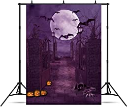 Halloween Themed Photography Backdrop Bats Pumpkin and Horrible Zombie in Purple Moonlight for Halloween Party Background Halloween Iron Gate Portrait Photo Studio Props 5x7ft