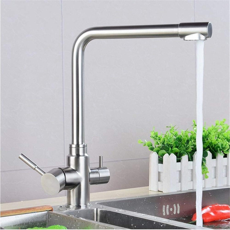 Oudan Kitchen Faucet Kitchen Faucet Double The Double Nozzle Vegetables Basin Faucet Sink Faucet 304 (color   -, Size   -)