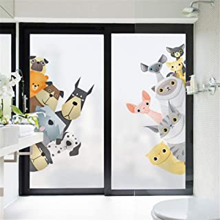 alisoso Removable Static Window Clings Animal Monochrome Paw Print Pet Window Clings Removable Non-Adhesive UV Blocking 35.4 x 78.7 inches
