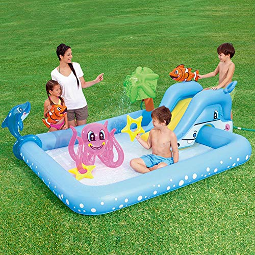 Hearthrousy Aufblasbare Planschbecken Aufblasbarer Babypool Badewanne Faltbare Aufblasbarer Badewannenpool Marinepool mit aufblasbarem Tierspielzeug für den Innenhof, 239 x 206 x 86CM