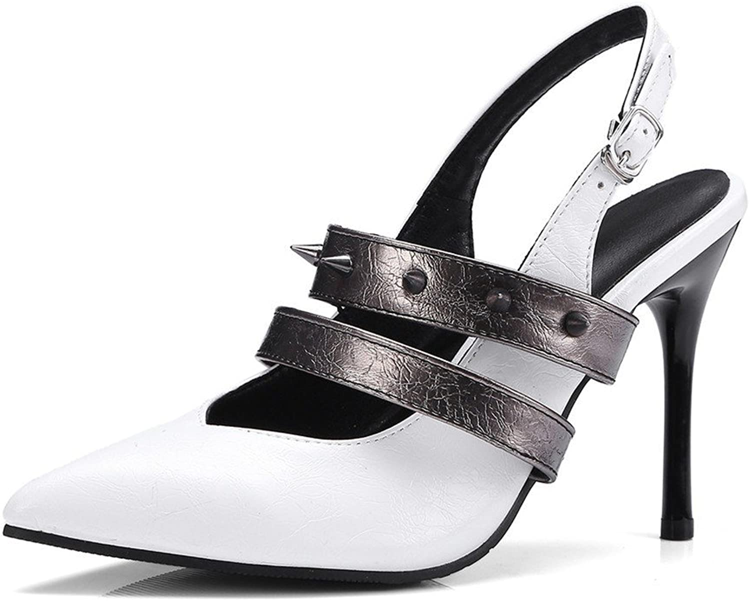 Ladies high Heels Europe and America fine Heel Buckle with Pointed Big Code Sandals