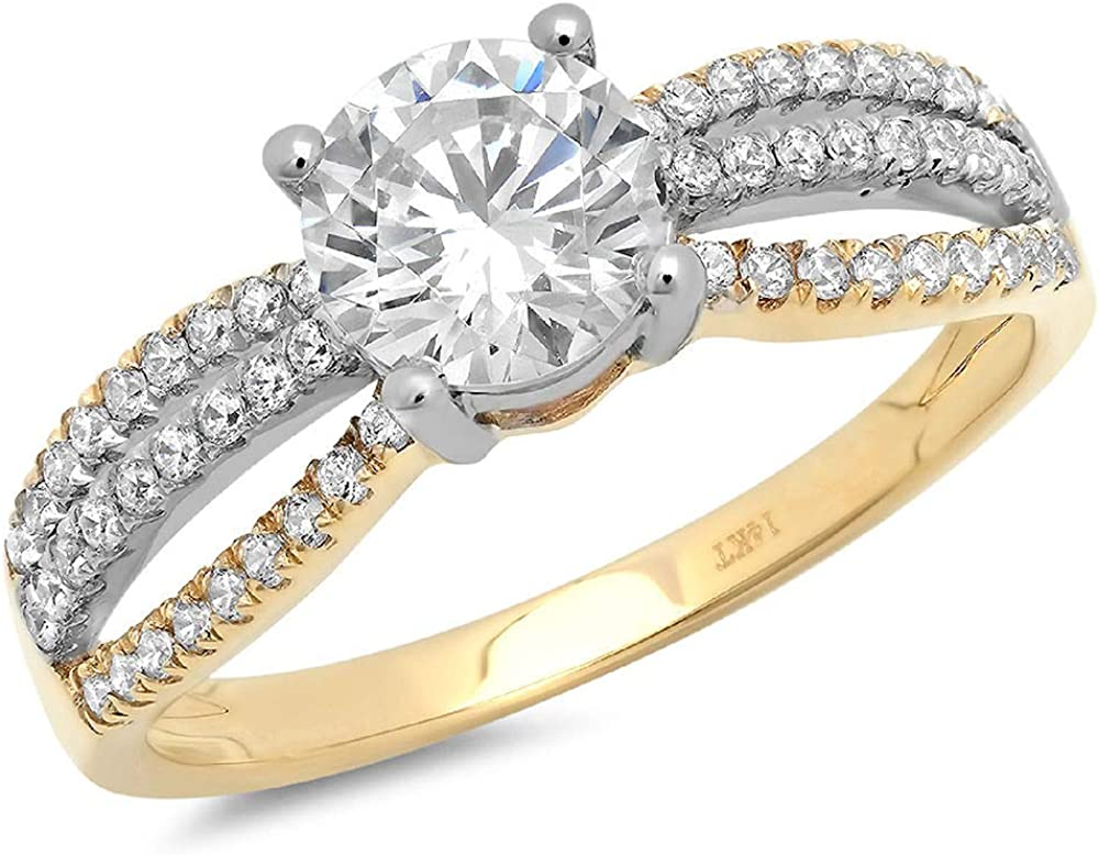 Clara Pucci 1.35 ct Round New York Mall Genuine Stunning Accent Solitaire Cut Max 59% OFF