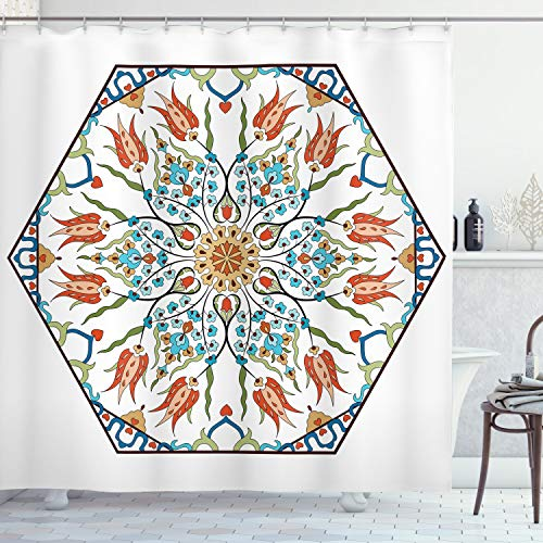 """Ambesonne Antique Shower Curtain, Ottoman Turkish Floral Pattern Tulips Medieval Baroque Effect on Dated Art, Cloth Fabric Bathroom Decor Set with Hooks, 70"""" Long, Pale Blue"""