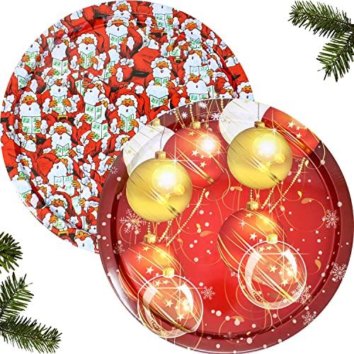 Selldorado® 2X Plato Decorativo con Motivos navideños - Plato para Galletas de Navidad - decoración navideña - Plato Decorativo de Navidad (1x Papá Noel 1x Bolas de Navidad)