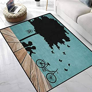 Kids Kids Room Home Decor Carpet 5x6 ft Boy and Girl Children Reading Under a Tree with a Bird Cage and Bicycle Garage Floor Mats