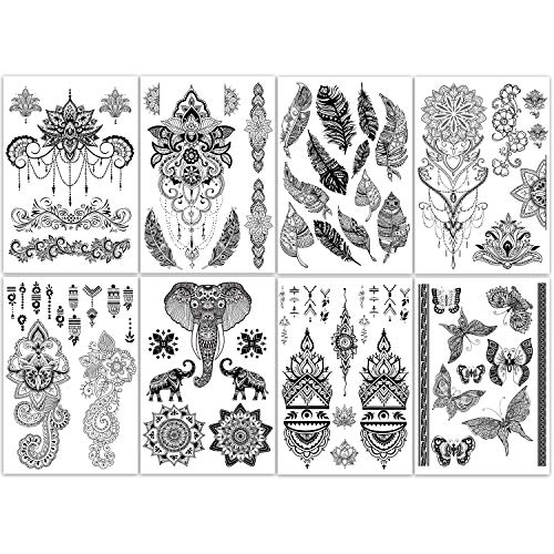 Yazhiji 8 sheets Extra Large Henna Mandala Temporary Tattoo Collection for Women and Girls Sexy Tattoo Stickers.
